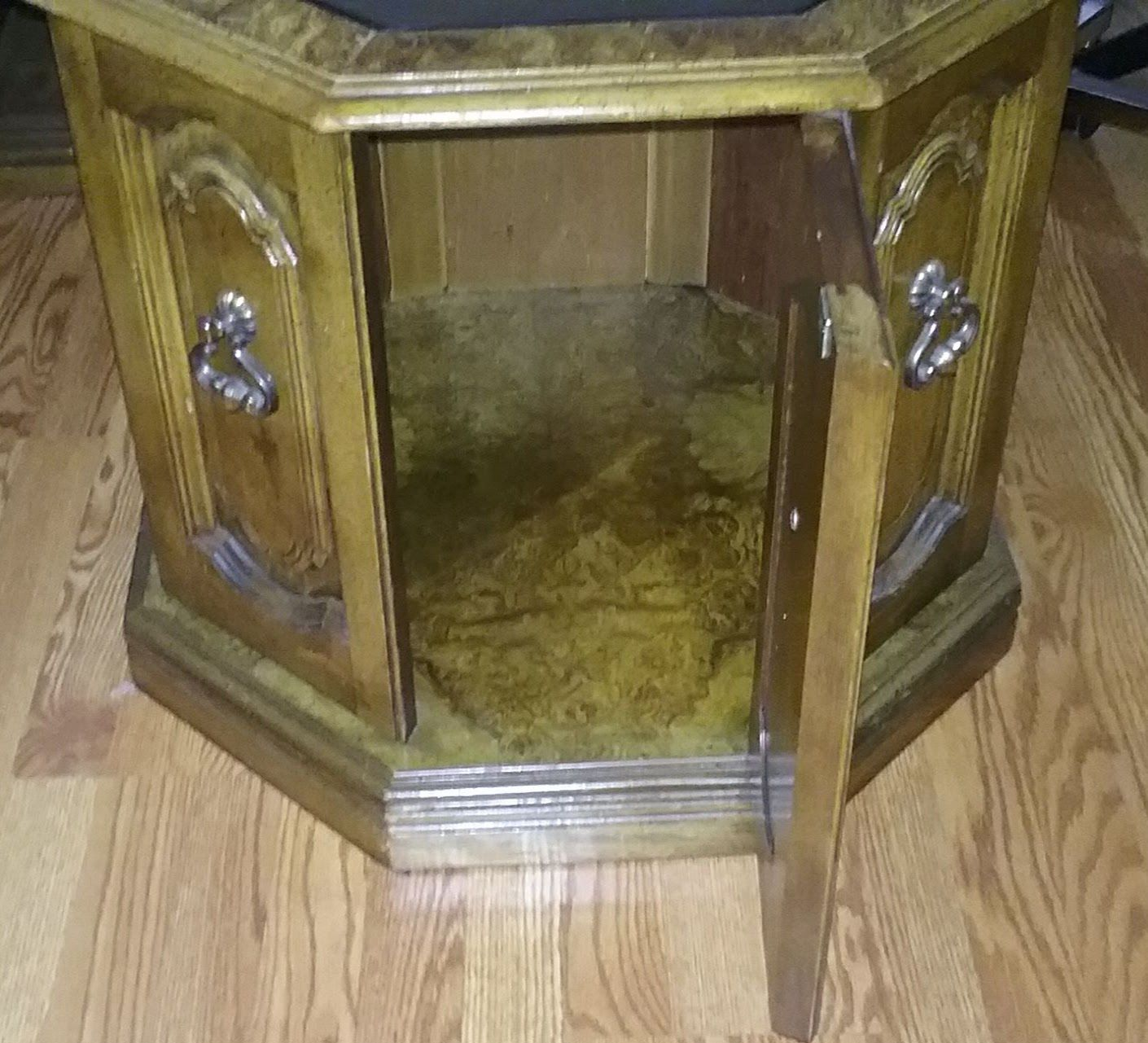 3 wood end tables. 2 with glass tops image 2