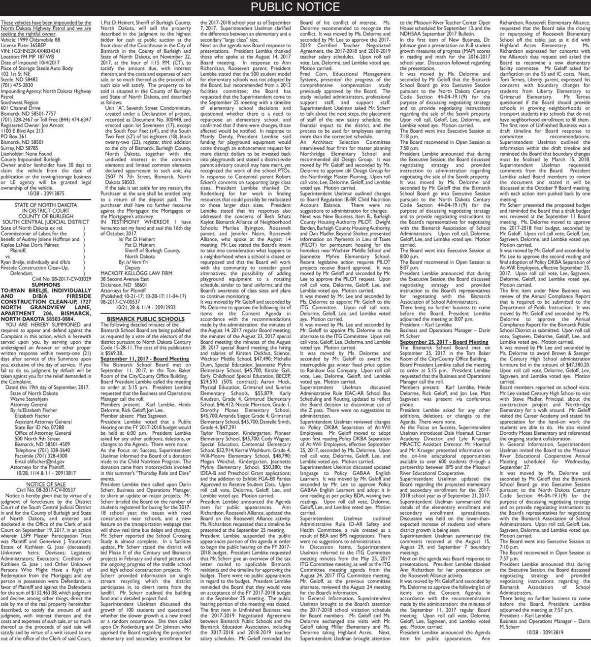 Legals - October 28, 2017