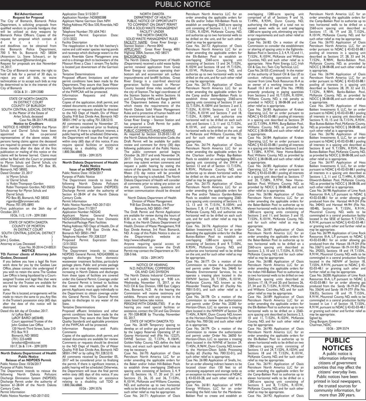 Legals - October 26, 2017