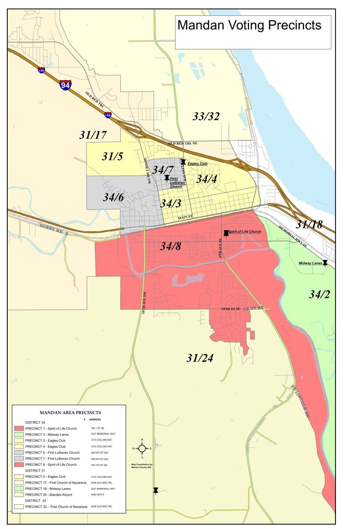 Mandan Voting Precinct Map | | bismarcktribune.com