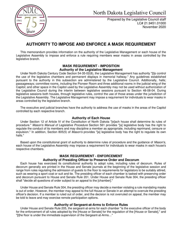 Legislative Council memo on mask requirement