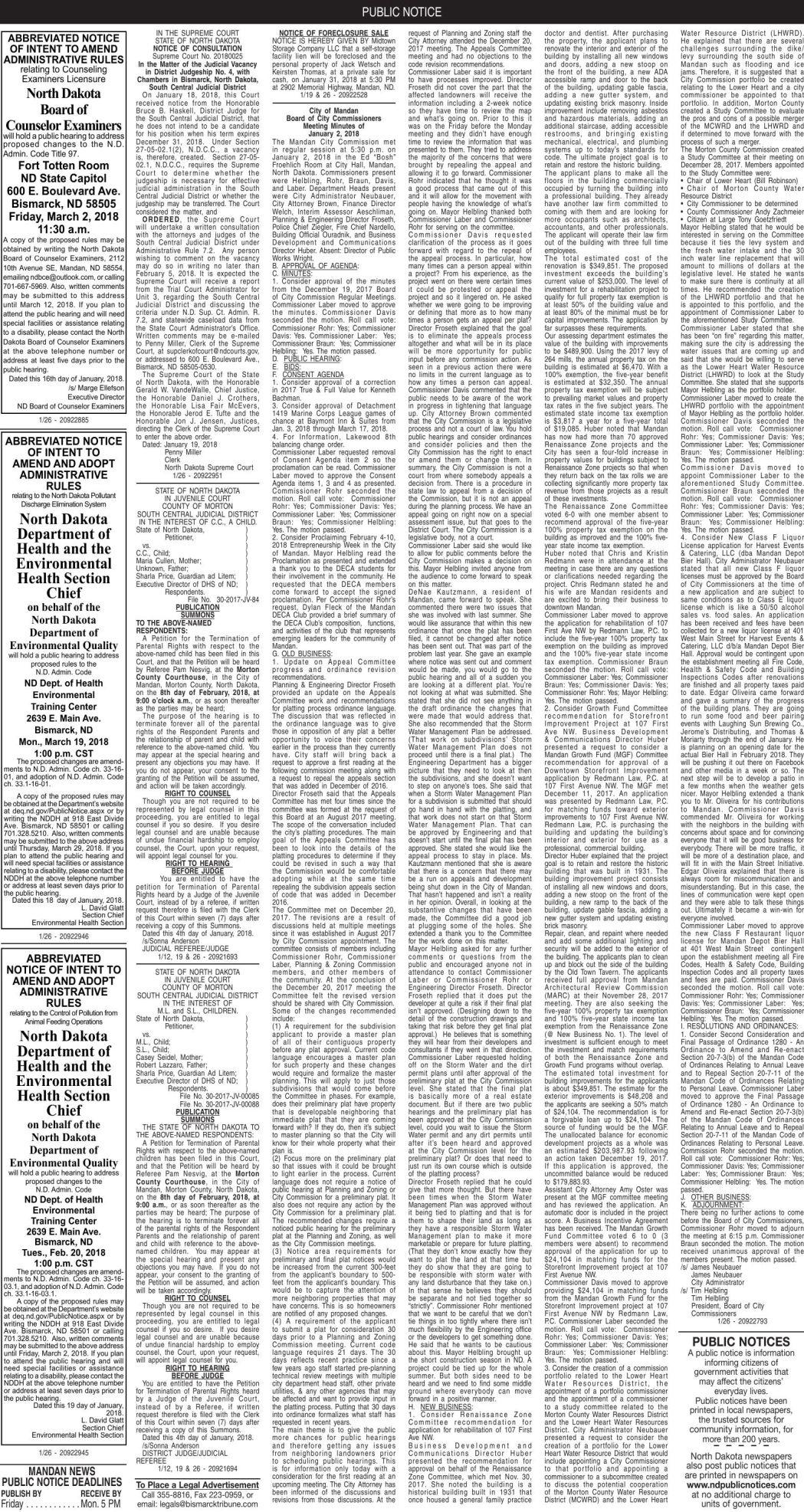 Mandan Legals - January 26, 2018