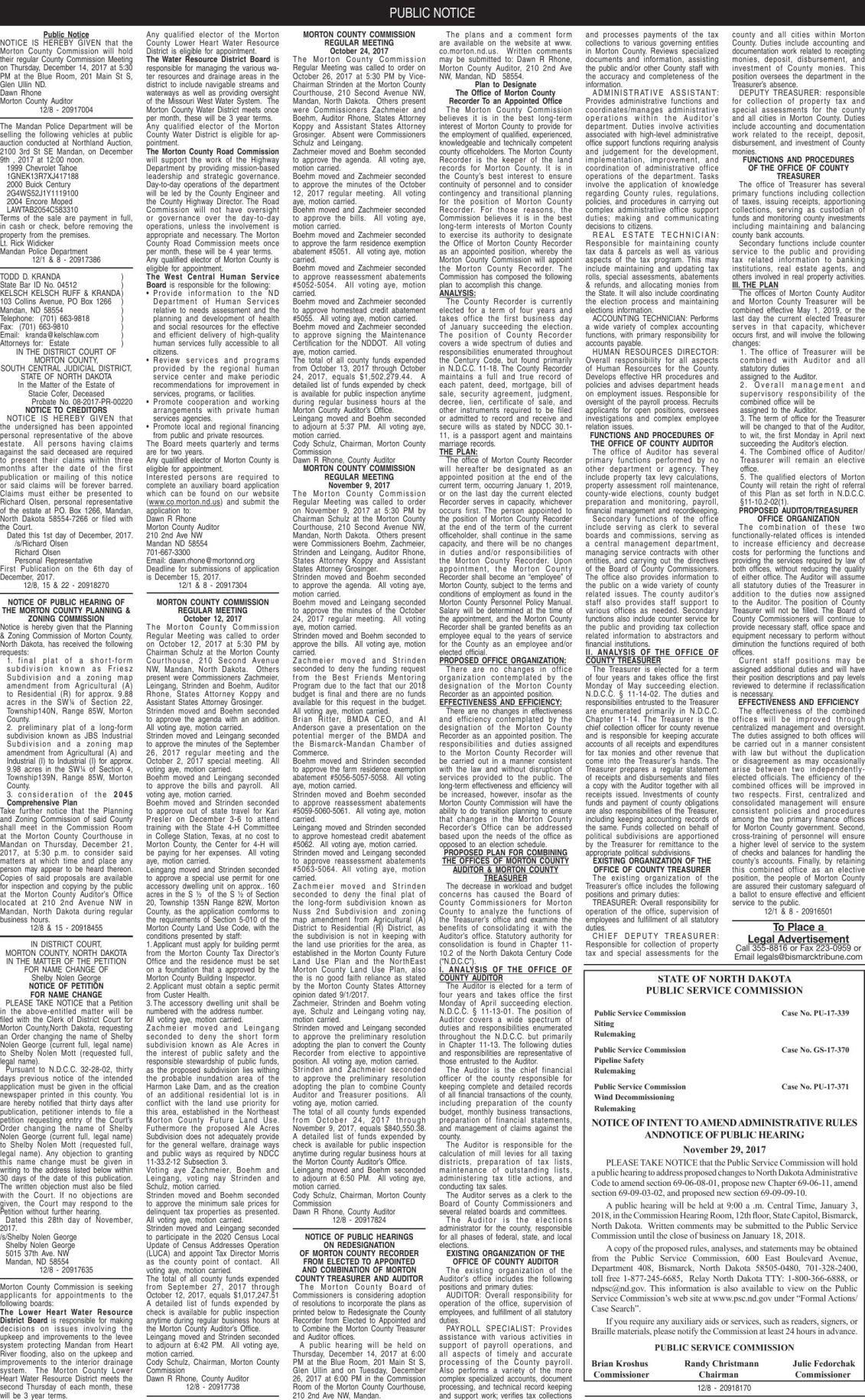 Mandan Legals - December 8, 2017