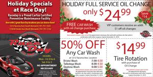 Holiday Specials at Race Day!