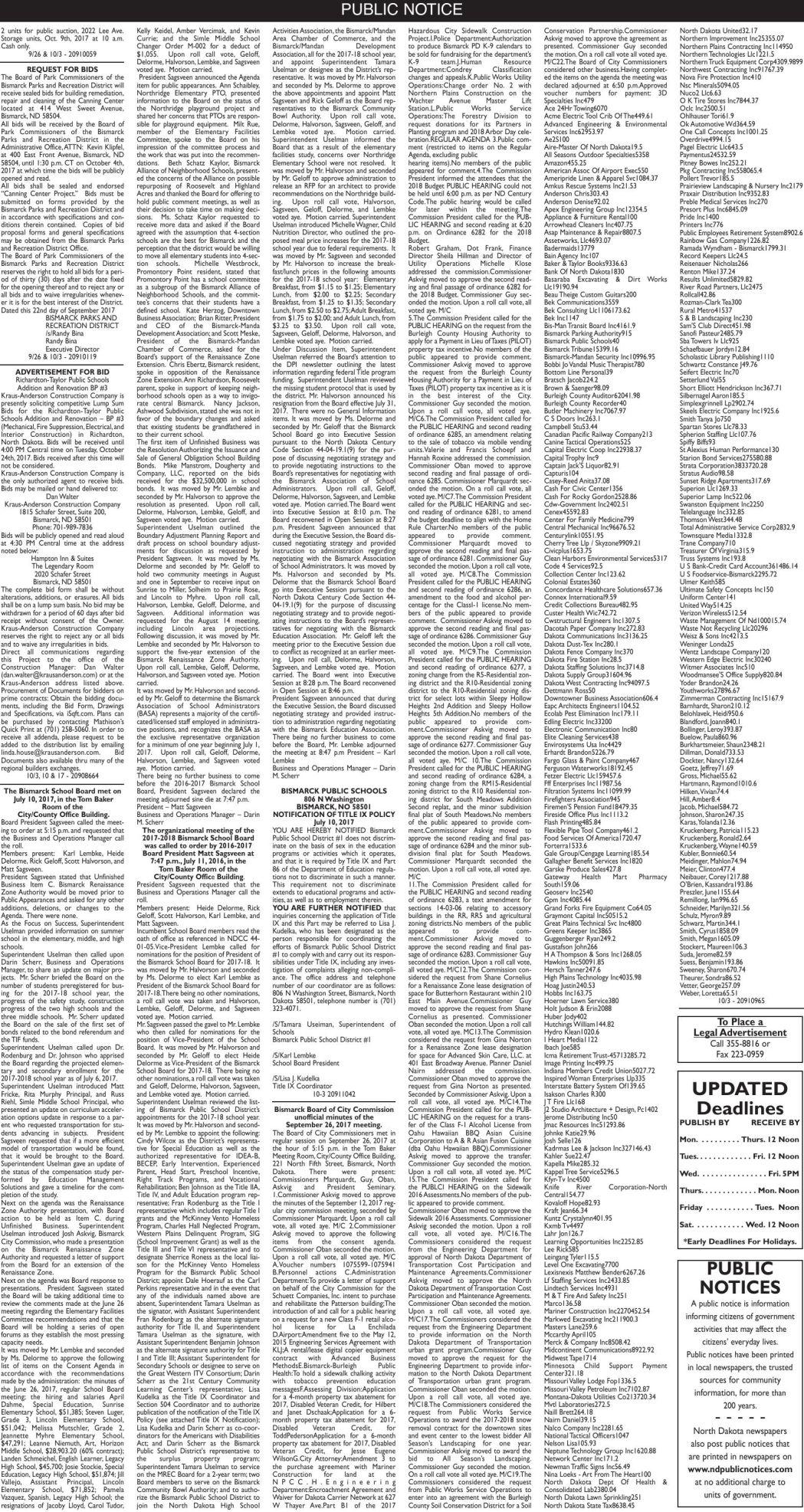 Legals - October 3, 2017