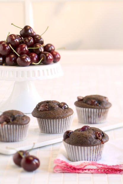 Bing Cherry Chocolate Cupcakes