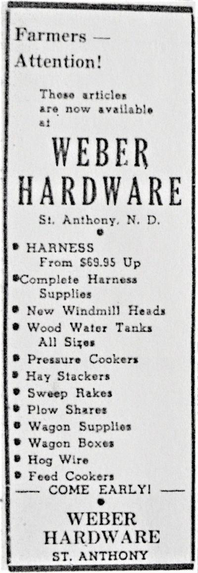 Weber Hardware advertisment, 1945