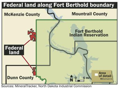 Federal land along Fort Berthold boundary