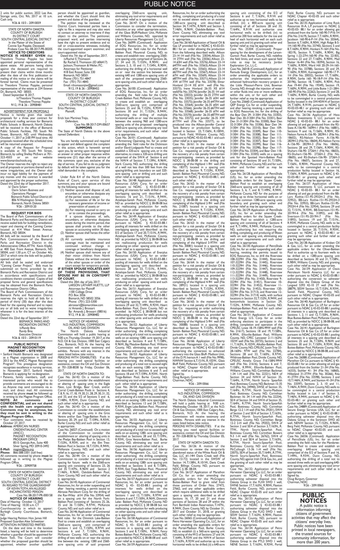 Legals - September 26, 2017