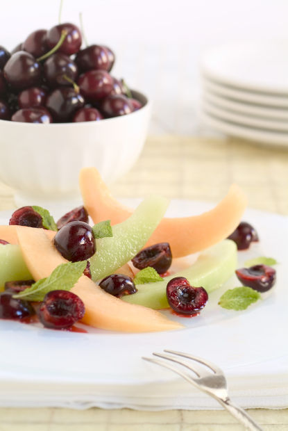 Bing Cherry Salad with Melon and Mint