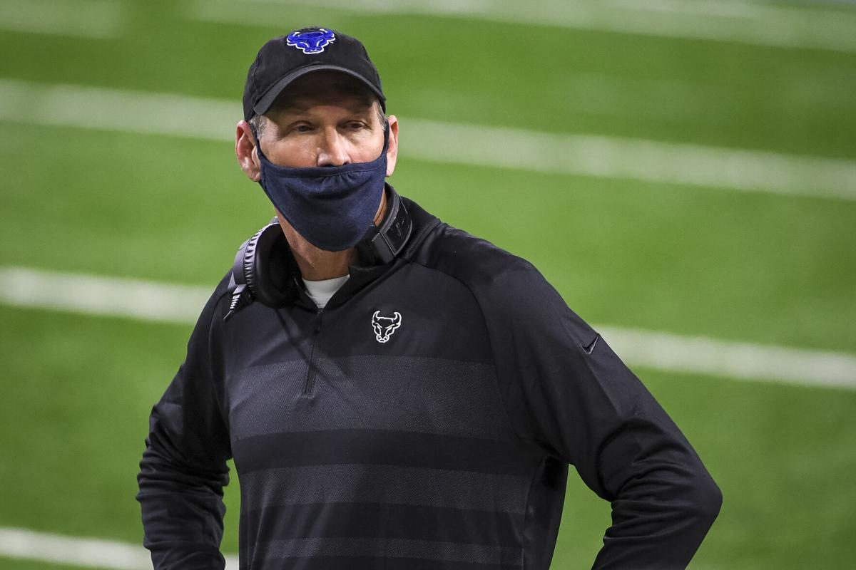 Head coach Lance Leipold of the Buffalo Bulls looks on during the second half of the Rocket Mortgage MAC Football Championship against the Ball State Cardinals at Ford Field on December 18, 2020, in Detroit, Michigan.