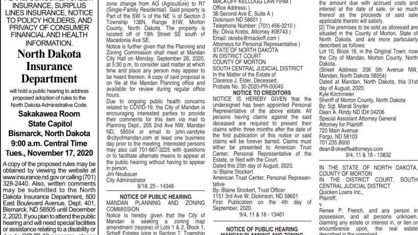 Mandan Legals - September 18, 2020 | Public-notices | bismarcktribune.com