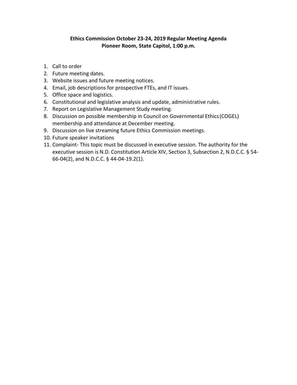 Oct. 23 North Dakota Ethics Commission agenda
