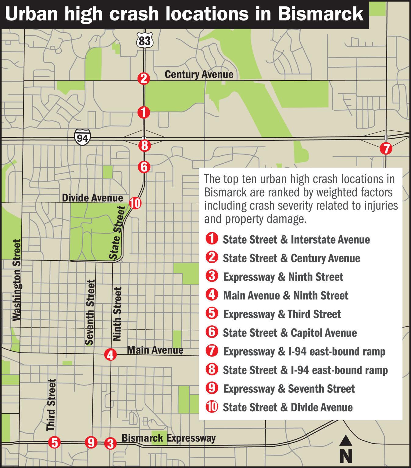 Street smarts Crash data highlight Bismarck intersections