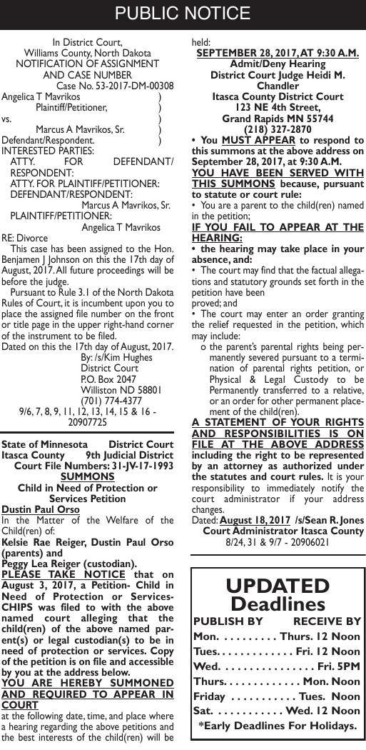 Legals - September 7, 2017