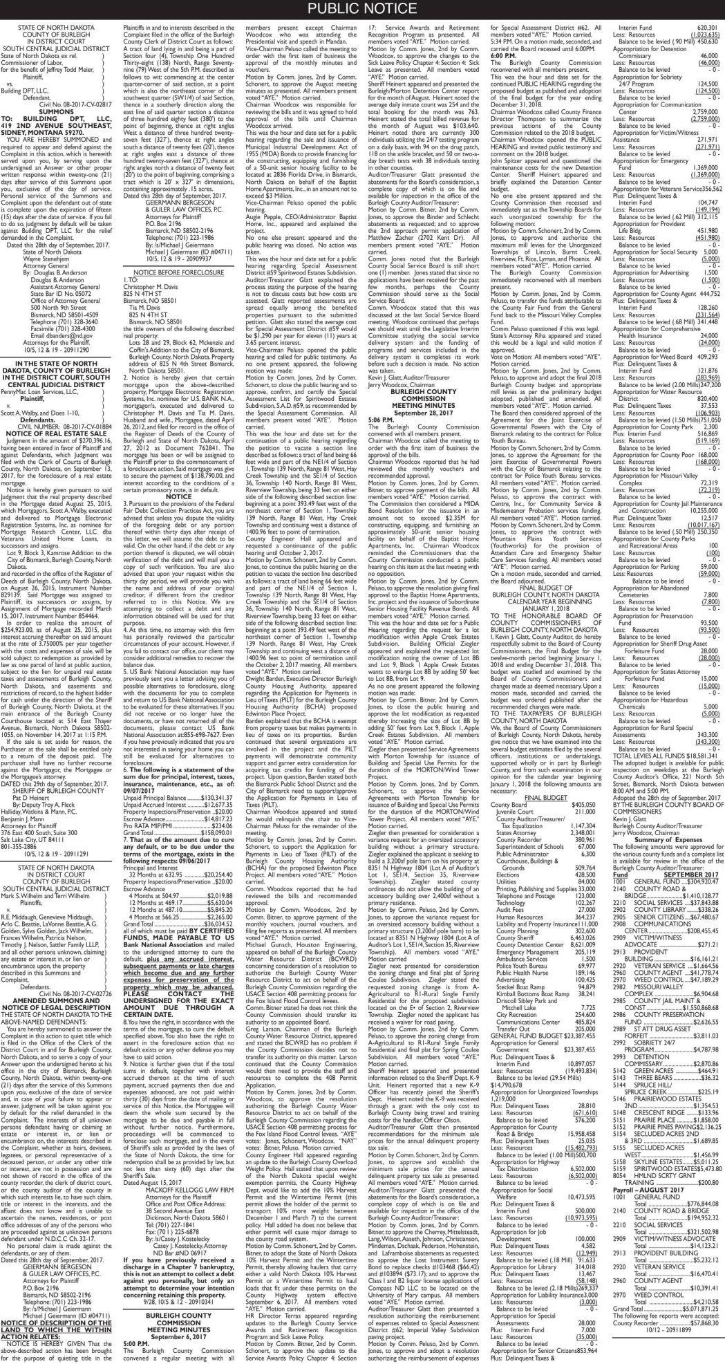Legals - October 12, 2017
