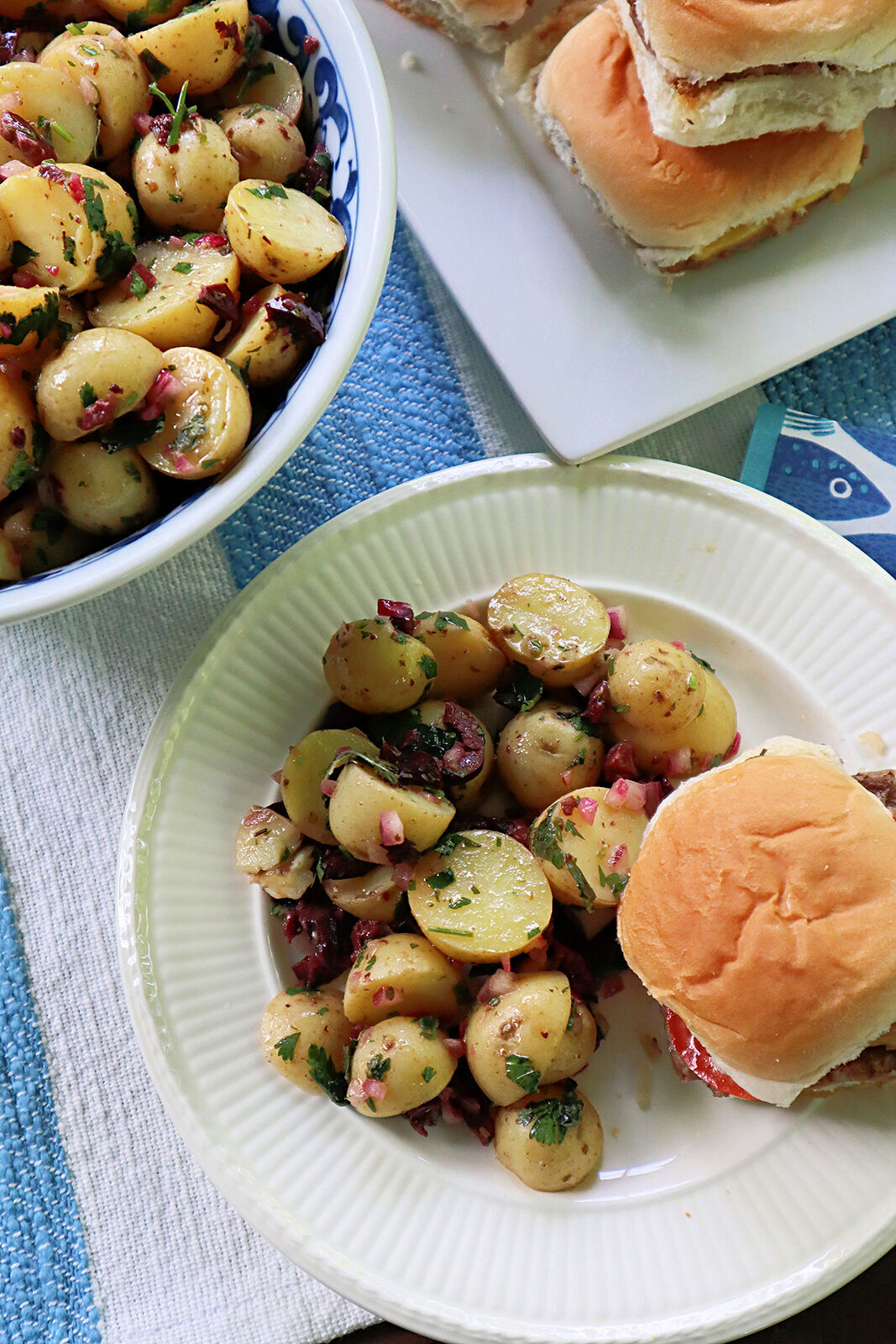 This Cypriot-style potato salad is made with olives, mint, lemon and olive instead of mayonnaise.