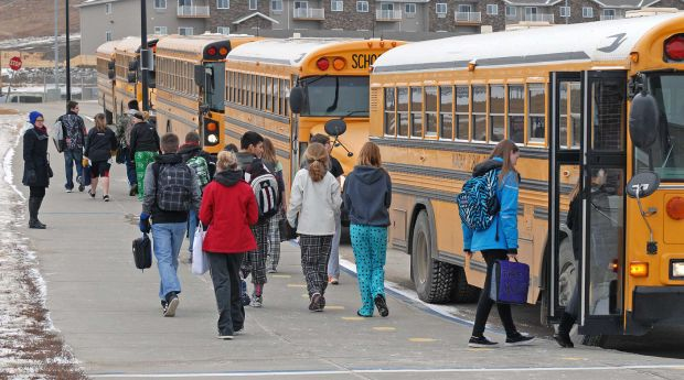 Mandan Middle School students ride bus