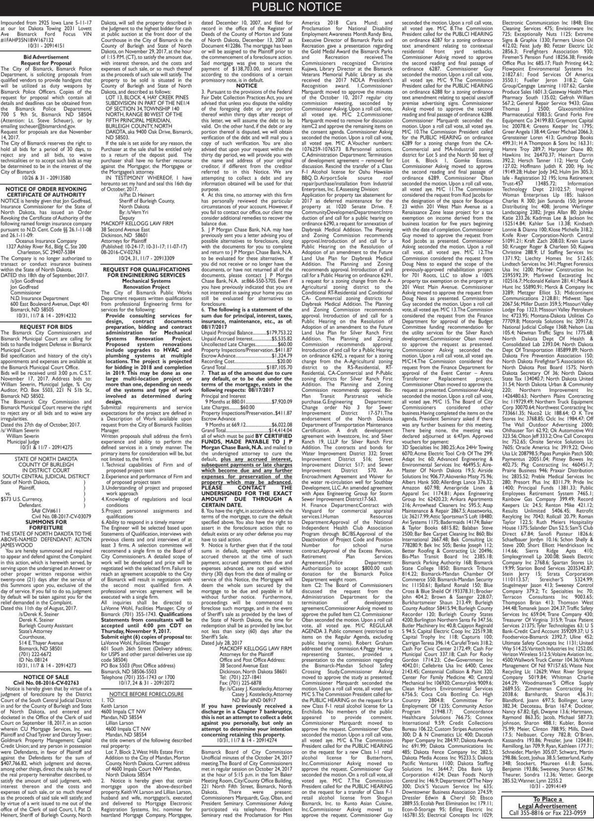 Legals - October 31, 2017
