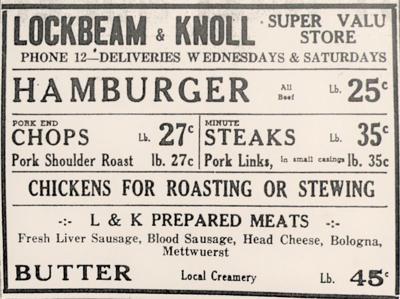 Lockbeam & Knoll store advertisement, 1945