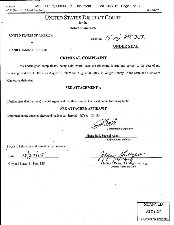 Heinrich Criminal Complaint | | bismarcktribune com