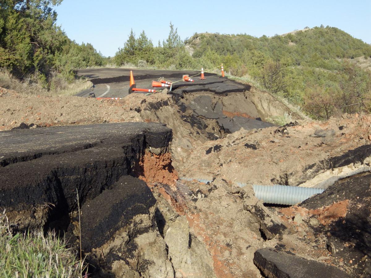 Theodore Roosevelt National Park slumped road
