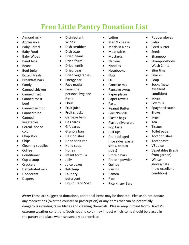 Free Little Pantry Donation List Bismarcktribune Com