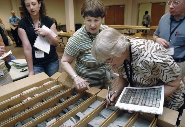 Julie LeFever exhibits shale samples