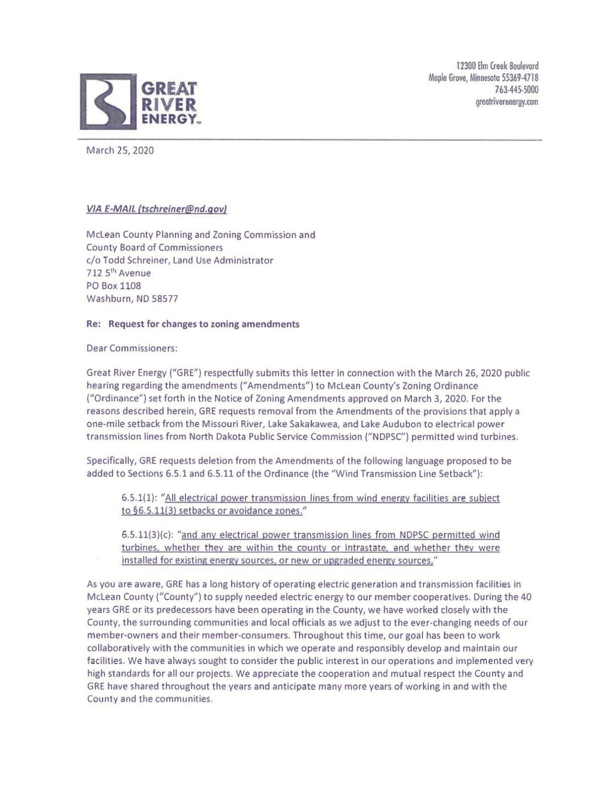 GRE letter to McLean County