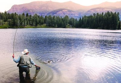 Fishing Trout Lake in Yellowstone