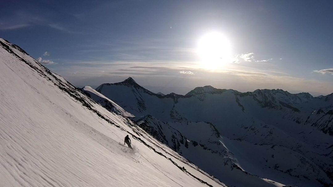 Ben Flook skis down Crazy Peak in April