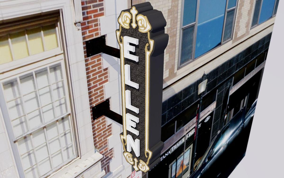 Ellen Theatre blade sign rendering 2