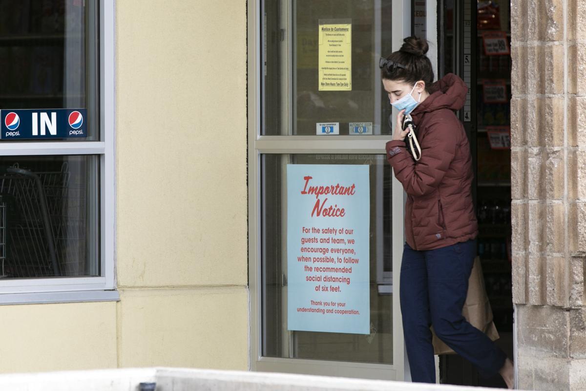 Shopper wearing mask