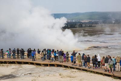 Crowded boardwalk in the Lower Geyser Basin