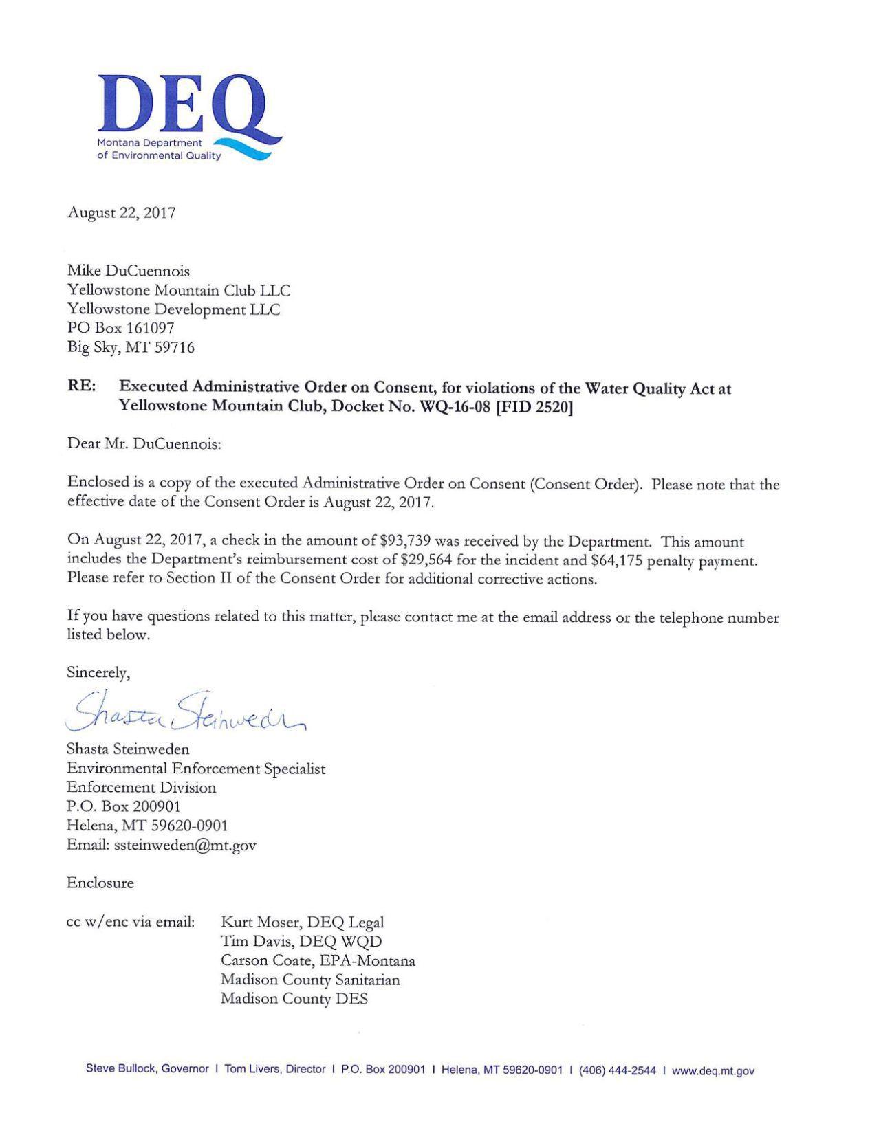 Deq Letter To Yellowstone Club Bozemandailychronicle Com