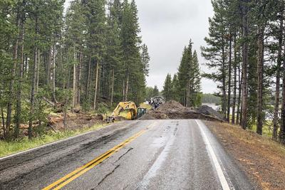 Big hole in the road in Yellowstone