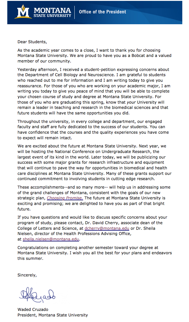 Waded Cruzado's letter to cell biology and neuroscience students