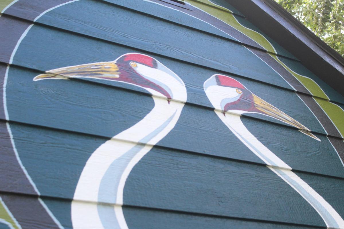 Crane mural on Davis