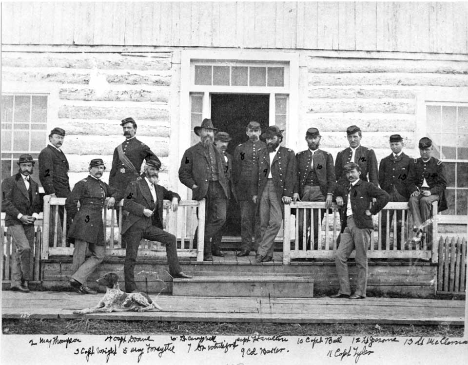 Maj. Eugene Baker with officers at Fort Ellis