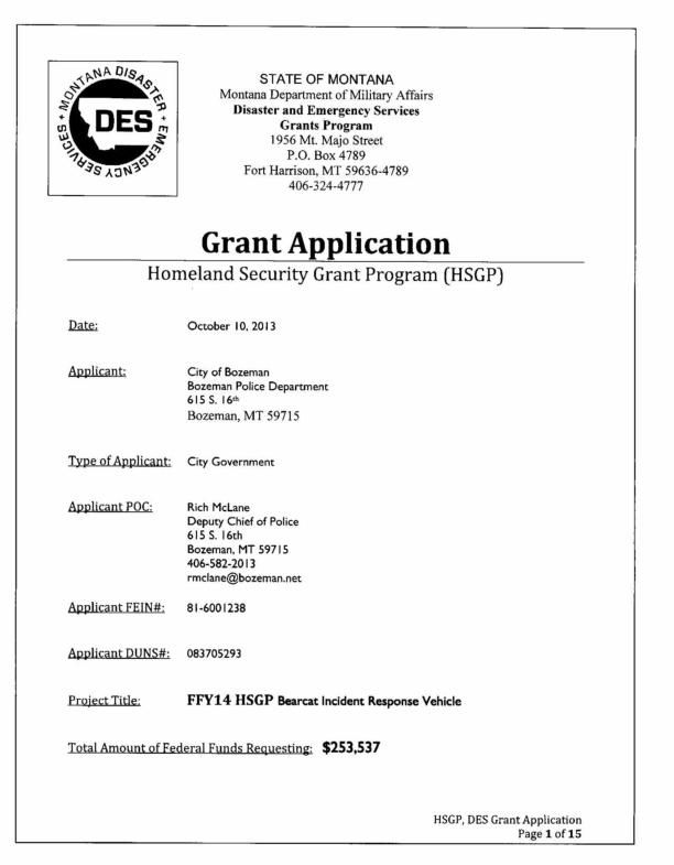 Bearcat Grant Application | Crime And Courts