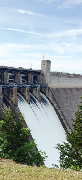 Table Rock Dam S Gates Open As Turbines