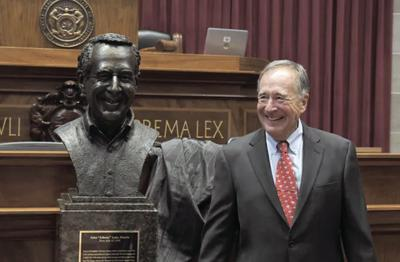 Johnny with his bust at Missouri House