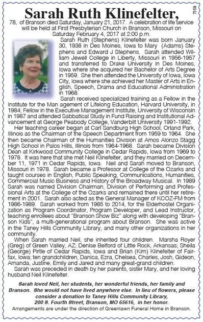 sarah ruth klinefelter obituaries free