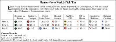 Banner-Press Weekly Pick 'Em | Sports | brenhambanner com