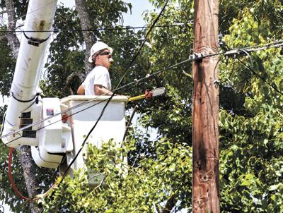 Trimming trees to avoid power outages
