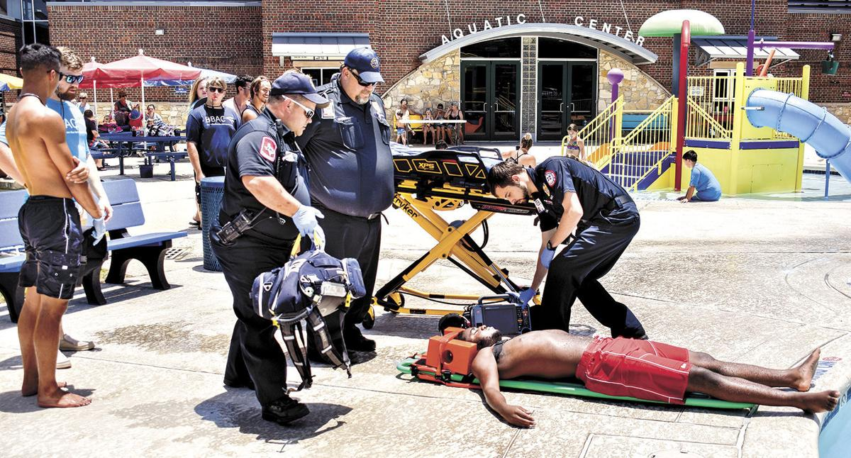 Helping a victim of a mock drill