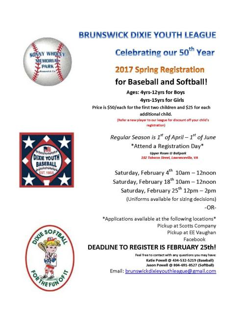 Brunswick Dixie Youth League Spring Registration | Sports