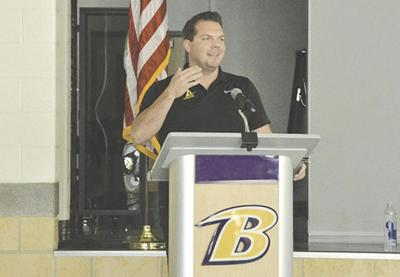 Randy Fisher speaks to BHS coaches