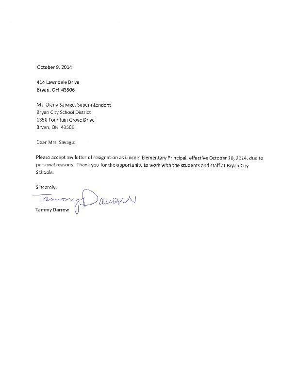 Tammy Darrow Resignation Letter
