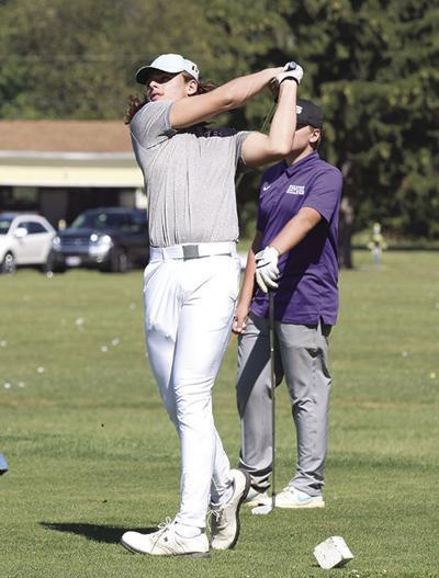 Shirkey hits tee shot
